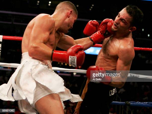 Peter Manfredo Jr. Punches Sergio Mora during their middleweight fight on October 15, 2005 at the Staples Center in Los Angeles, California.