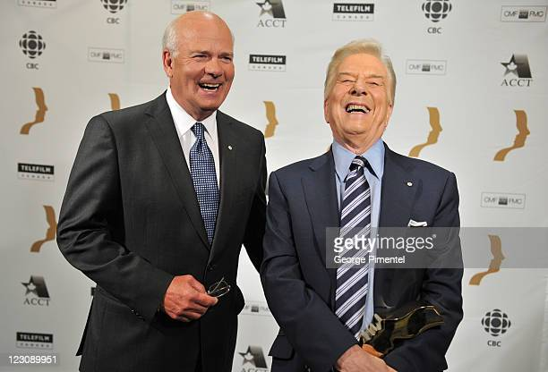 Peter Mansbridge and winner of the Gordon Sinclair Award for Broadcast Journalism Lloyd Robertson attend the 26th Annual Gemini Awards - Industry...