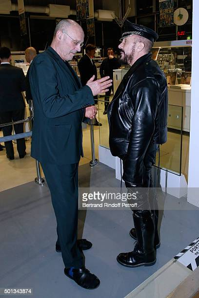 Peter Marino and Artist Anselm Kiefer attend the Anselm Kiefer's Exhibition Press Preview held at Centre Pompidou on December 14 2015 in Paris France