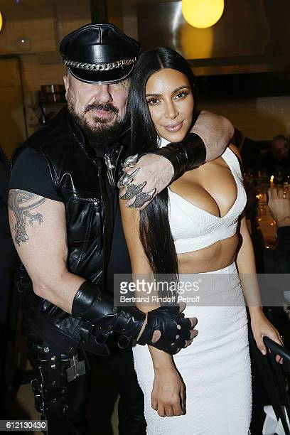 Peter Marino and Kim Kardashian attend the private Dinner hosted by Surface Magazine And Azzedine Alaia Private Dinner as part of Paris Fashion Week...