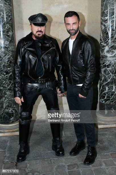Peter Marino and stylist Nicolas Ghesquiere pose after the Louis Vuitton show as part of the Paris Fashion Week Womenswear Spring/Summer 2018 on...
