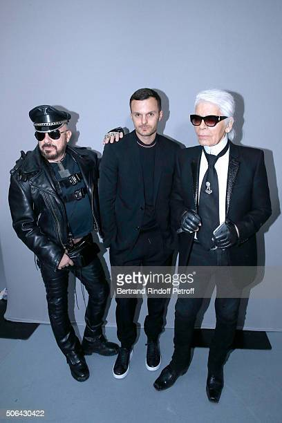 Peter marino Fashion designer Kris Van Assche and Stylist Karl Lagerfeld pose Backstage after the Dior Homme Menswear Fall/Winter 20162017 show as...