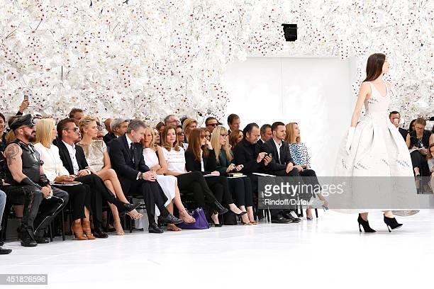 Peter Marino Princess Marie Chantal of Greece Sean Penn Charlize Theron Helene Arnault and Journalist Valerie Trierweiler attend the Christian Dior...
