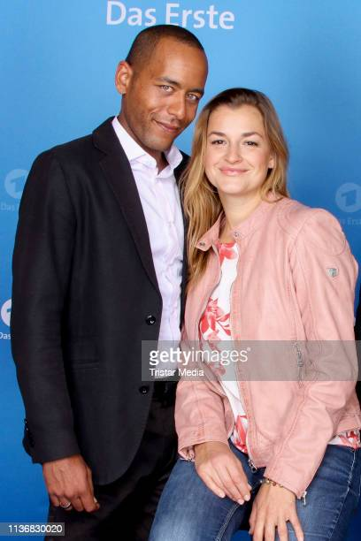 Peter Marton and Ines Lutz attend the photo call of the tv series Watzmann ermittelt at Literaturhaus on March 19 2019 in Hamburg Germany