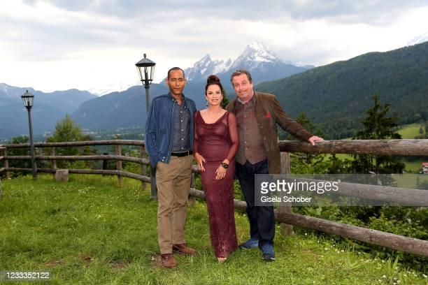 "Peter Marton , Christine Neubauer and Andreas Giebel pose during the 3rd season ""Watzmann ermittelt"" photocall for ""Die verkaufte Braut"" on June 8,..."
