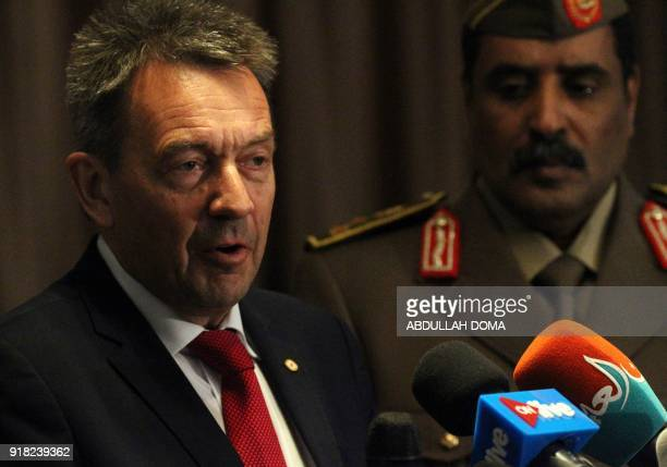 Peter Maurer President of the International Committee of the Red Cross speaks at a press conference in Benina International Airport on the outskirts...