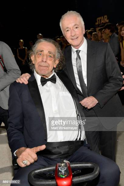 Peter Mayhew and Anthony Daniels attend the premiere of Disney Pictures and Lucasfilm's 'Star Wars The Last Jedi' at The Shrine Auditorium on...