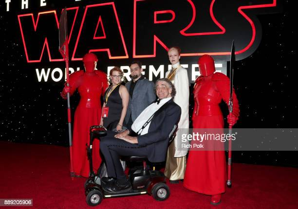 Peter Mayhew and family with the Praetorian Guard at the world premiere of Lucasfilm's Star Wars The Last Jedi at The Shrine Auditorium on December 9...