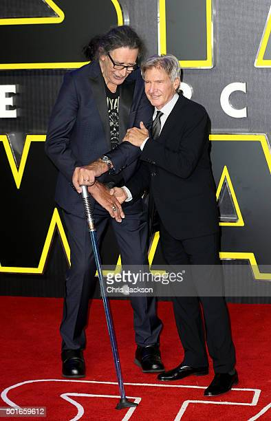 """Peter Mayhew and Harrison Ford attend the European Premiere of """"Star Wars: The Force Awakens"""" at Leicester Square on December 16, 2015 in London,..."""