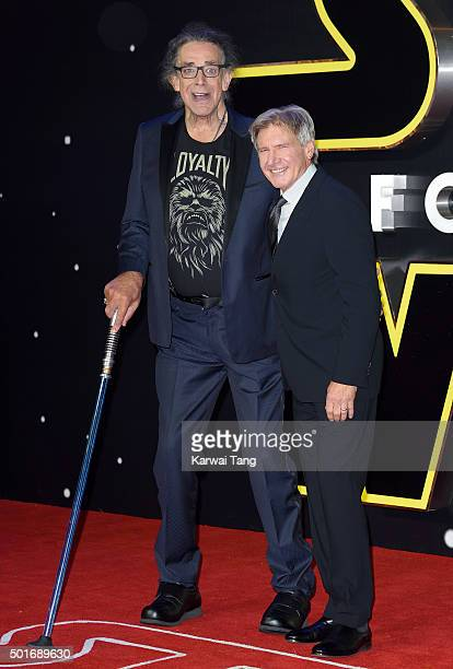 Peter Mayhew and Harrison Ford attend the European Premiere of 'Star Wars The Force Awakens' at Leicester Square on December 16 2015 in London England