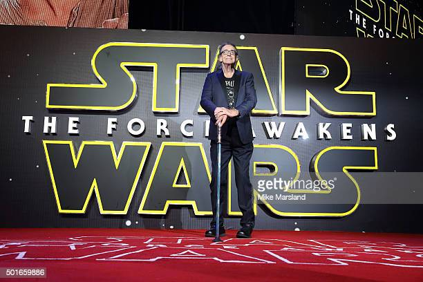 Peter Mayhew attends the European Premiere of Star Wars The Force Awakens at Leicester Square on December 16 2015 in London England