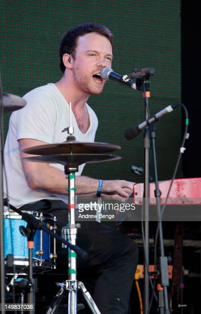 Peter McCauley of Rams Pocket Radio performs on stage during Y Not Festival which takes place in the Peak District on August 4, 2012 in Matlock,...
