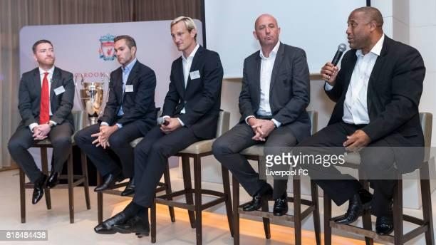 Peter McDowall of Presenter Producer LFCTV former Liverpool players Jason McAteer Sami Hyypia Gary McAllister and John Barnes talks during Liverpool...
