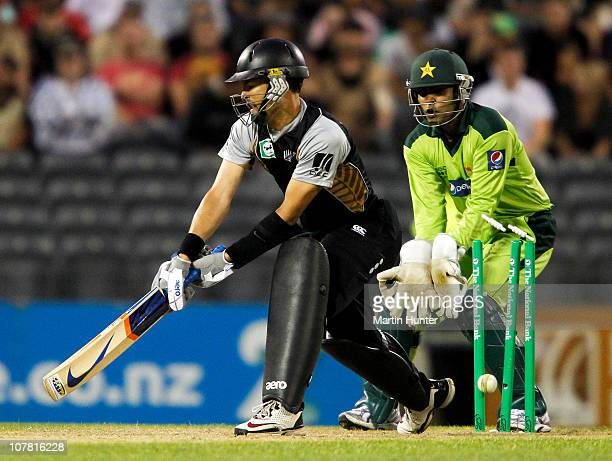 Peter McGlashan of New Zealand is bowled by Abdur Rehman of Pakistan during game three of the Twenty20 series between New Zealand an Pakistan at AMI...