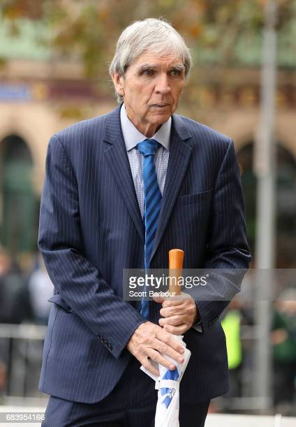 Peter McKenna arrives during the Lou Richards State Funeral Service at St Paul's Cathedral on May 17 2017 in Melbourne Australia