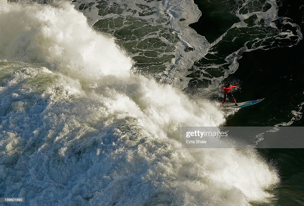 Peter Mel competes during heat one of the Mavericks Invitational surf competition on January 20, 2013 in Half Moon Bay, California. Mel went on to win the compeititon.