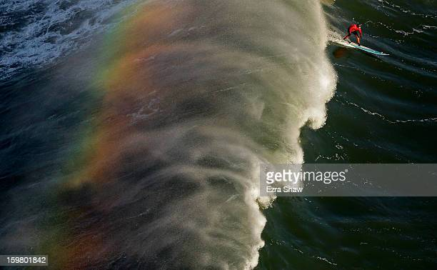 Peter Mel competes during the first heat of the Mavericks Invitational surf competition on January 20 2013 in Half Moon Bay California