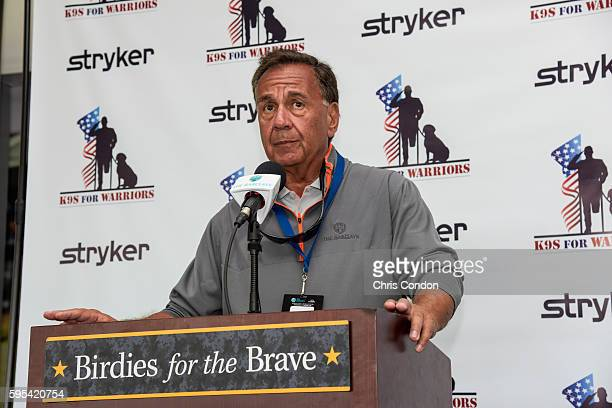 Peter Mele executive director of The Barclays tournament speaks at a Stryker K9s for Warriors ceremony in the Birdies for the Brave Patriots' Outpost...
