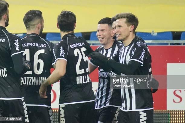 Peter Michorl of LASK celebrates after scoring a goal during the tipico Bundesliga match between spusu SKN St. Pölten and LASK at NV Arena on...