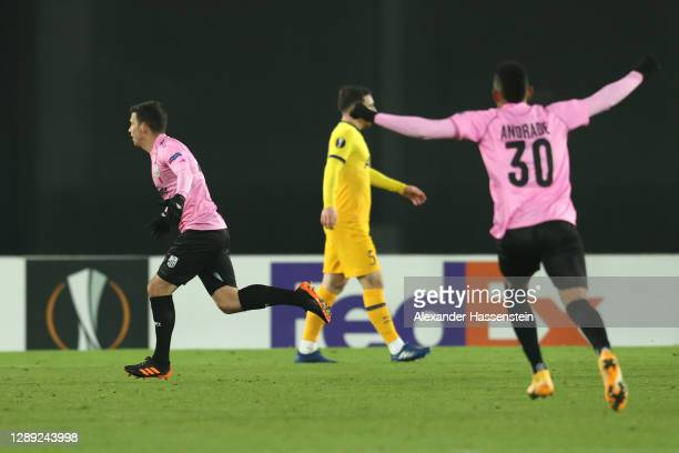 Peter Michorl of LASK celebrates after scoring their team's first goal during the UEFA Europa League Group J stage match between LASK and Tottenham...