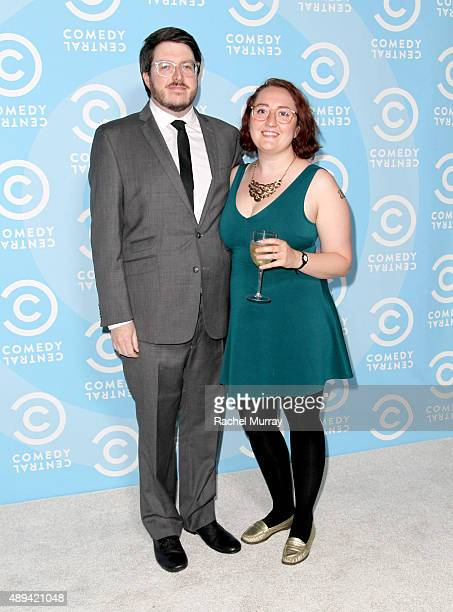 Peter Miller and Emily Heller attend the Comedy Central Emmys after party at Boulevard3 on September 20 2015 in Hollywood California