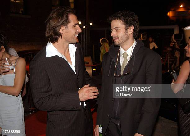 Peter Miller and Luke Kirby during 2003 Toronto Film Festival Mambo Italiano Party at Brasserie Restaurant in Toronto Ontario Canada