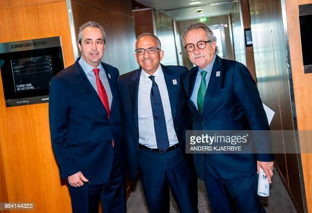 Peter Montopoli General Secretary of the Football Association of Canada Carlos Cordeiro President of the United States Football Association and Decio...