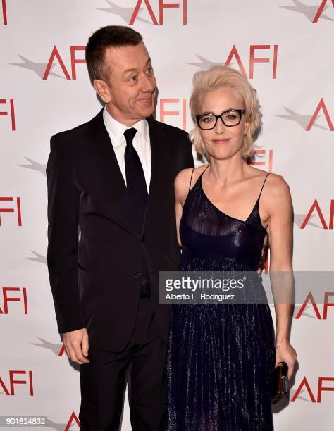Peter Morgan and Gillian Anderson attend the 18th Annual AFI Awards at Four Seasons Hotel Los Angeles at Beverly Hills on January 5 2018 in Los...