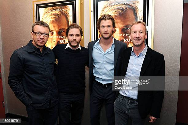 Peter Morgan Daniel Bruhl Chris Hemsworth and Andrew Eaton attend The Academy Of Motion Picture Arts And Sciences official Academy member screening...