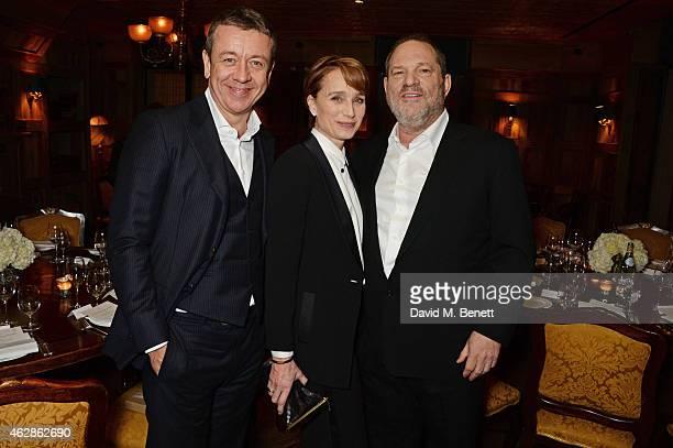 Peter Morgan Kristin Scott Thomas and Harvey Weinstein attend Harvey Weinstein's BAFTA Dinner in partnership with Burberry GREY GOOSE at Little House...