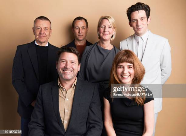 Peter Morgan Tobias Menzies Benjamin Caron Suzanne Mackie Oona O'Beirn and Josh O'Connor pose for a portrait at the 2020 BAFTA Tea Party on January...