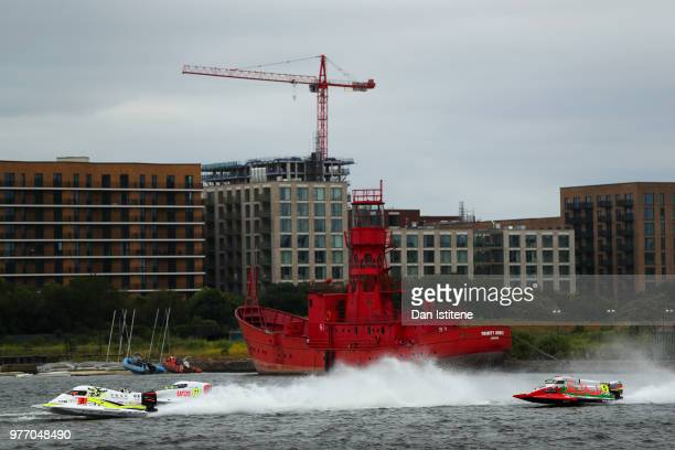 Peter Morin of France and CTIC F1 Shenzhen China competes ahead of Sami Selio of Finland and MadCroc BABA Racing and Thani Al Qemzi of UAE and Team...