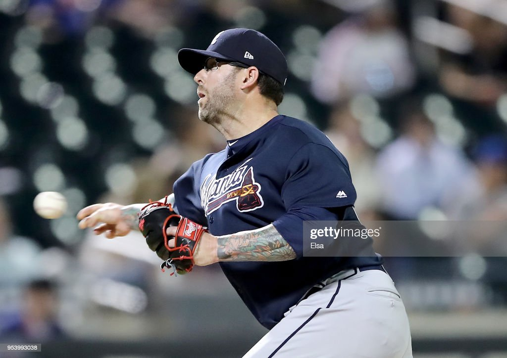 Peter Moylan #30 of the Atlanta Braves delivers a pitch in the ninth inning against the New York Mets on May 2, 2018 at Citi Field in the Flushing neighborhood of the Queens borough of New York City.