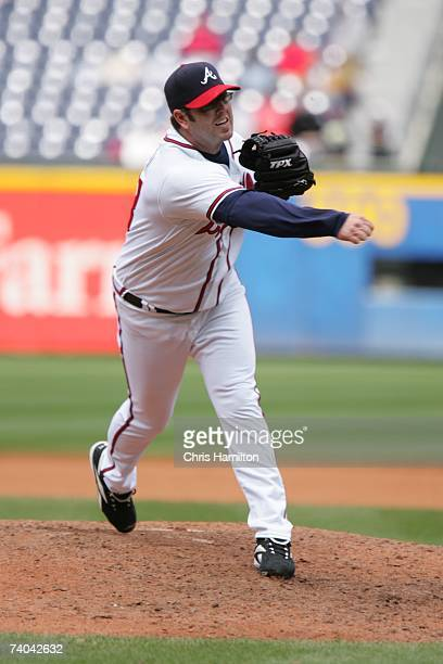 Peter Moylan of the Atlanta Braves pitches during the game against the Florida Marlins at Turner Field in Atlanta Georgia on April 15 2007 The Braves...