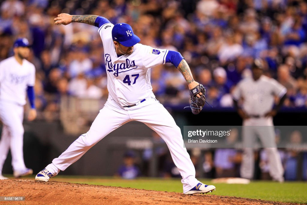 Peter Moylan #47 of the Kansas City Royals pitches against the Chicago White Sox during the fourth inning at Kauffman Stadium on September 11, 2017 in Kansas City, Missouri.