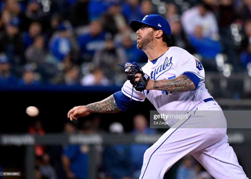 Peter Moylan #47 of the Kansas City Royals throws in the seventh inning against the Chicago White Sox at Kauffman Stadium on May 1, 2017 in Kansas City, Missouri.