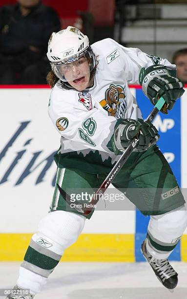 Peter Mueller of the Everett Silvertips skates against the Vancouver Giants during their WHL game on October 28 2005 at Pacific Colisseum in...
