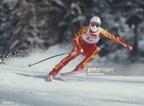 Peter Muller of Switzerland skiing in the Men's Downhill event at the International Ski Federation FIS Alpine Skiing World Cup event on 17 January...
