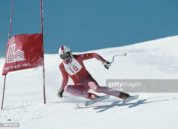 Peter Muller of Switzerland skiing in the Men's Downhill event of the Alpine Skiing World Cup on 3 March 1979 in Lake Placid New York United States
