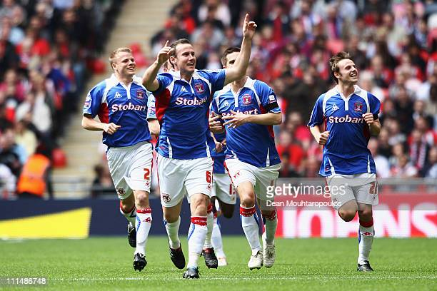 Peter Murphy of Carlisle celebrates scoring the first goal of the game during the Johnstone's Paint trophy Final between Carlisle United and...