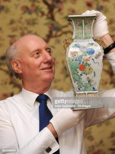 Peter Musgrove House Manager at Fairfax House Museum York holds the early 18th Century vase inside which a 300 year old Chinese shopping list was...