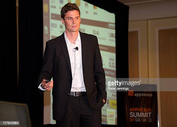 Peter Muzzonigro speaks to the crowd at the AppNexus Summit SF at the Four Seasons Hotel on April 14 2011 in San Francisco California