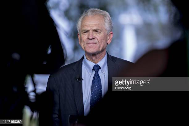Peter Navarro director of the National Trade Council pauses during a television interview outside the White House in Washington DC US on Friday May...