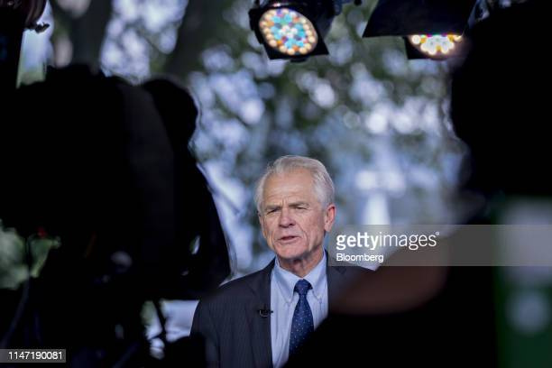 Peter Navarro director of the National Trade Council speaks during a television interview outside the White House in Washington DC US on Friday May...