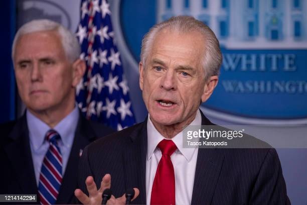 Peter Navarro Director of the National Trade Council speaks during a press briefing in the James Brady Press Briefing Room at the White House on...