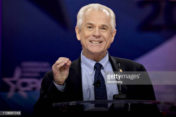 Peter Navarro director of the National Trade Council speaks during the Conservative Political Action Conference in National Harbor Maryland US on...