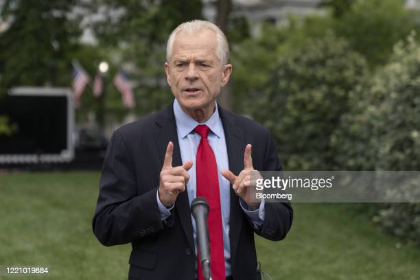 Peter Navarro director of the National Trade Council speaks to members of the media after a television interview outside the White House in...