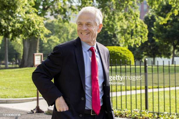 Peter Navarro director of the National Trade Council walks outside White House after a television interview in Washington DC US on Friday May 15 2020...