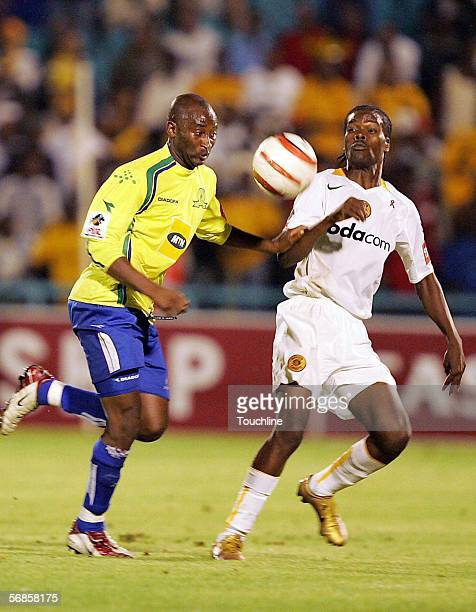Peter Ndlovu and Arthur Zwane during the PSL match between Kaizer Chiefs and Mamelodi Sundowns at Soccer City February 15 2006 in Johannesburg South...