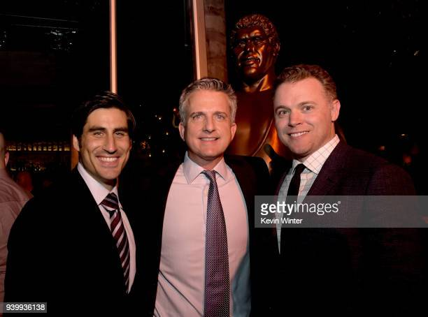 Peter Nelson Executive Vice President HBO Sports Bill Simons Executive producer and director Jason Hehir pose at the after party for the premiere of...